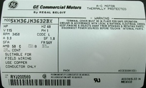 MTRGE-3632 motor w/ airswitch & powercord 5KH36JN3632BX 1111034 9.9 Amp Rating REPLACED BY MTR-USEZBN24