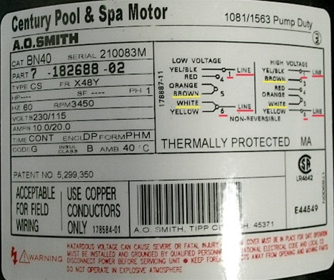 Waterway Spa Pump Motor 2 Speed Century BN40 718268802