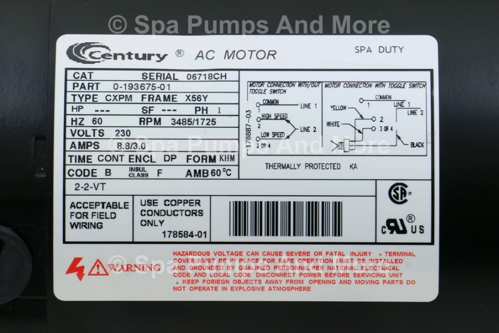 Puum2202582fr Spa Pump 230 Volt 8a 56 Frame Two Speed 2 U0026quot Sd