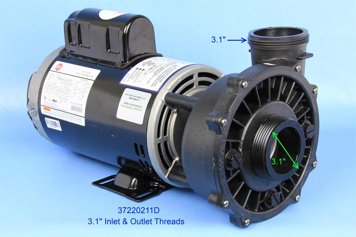 Waterway pumps spa pump 3722021 1d 37220211d p250e52024 for Ao smith spa pump motors