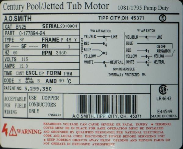 Waterway Pump Motor Century Motor 115v 12a One Speed 48fr Bn25 Bn25 7j06 0 177894 24 Lr4642 E44549 3410410 1 Bn25 S55cxgyn 8423