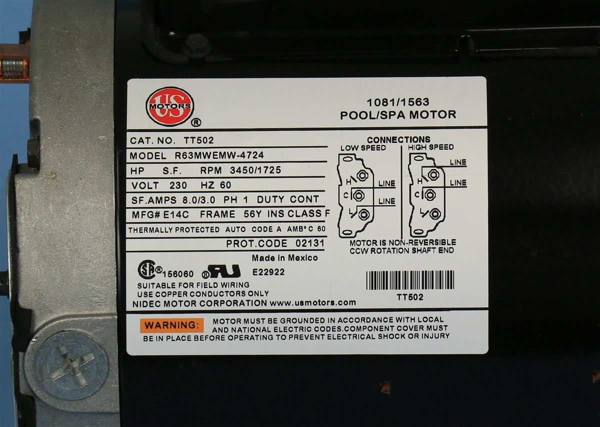 spa pump puups2482582f 56fr 8.8a 230v 2-spd 2