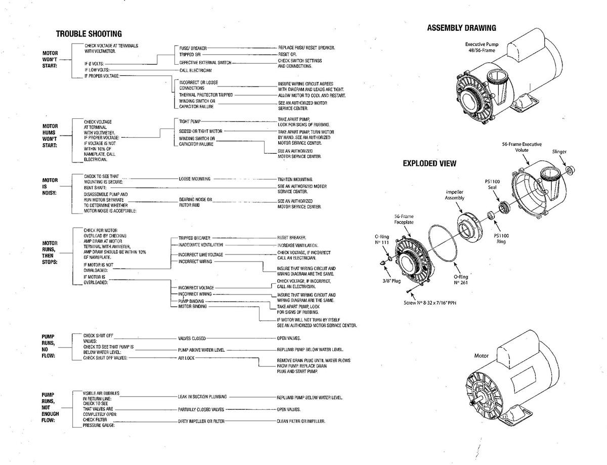 how to trouble shoot spa pump motor waterway Aqua-Flo Tub Master 06115517 2040 aqua flo xp2 pump 1 5hp